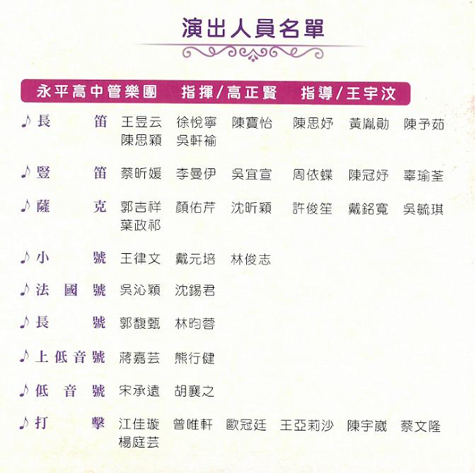 音樂會演出人員名單